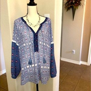 Vintage America blue/pint print V-neck blouse